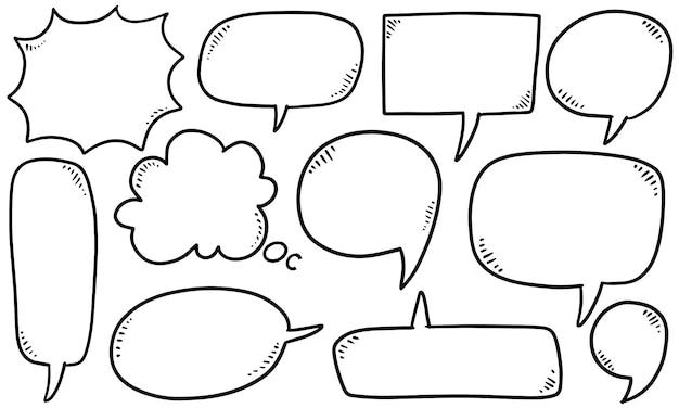 Insieme disegnato a mano di bolle di discorso. doodle set element.