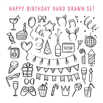 Insieme disegnato a mano di buon compleanno illustrazione vettoriale vintage