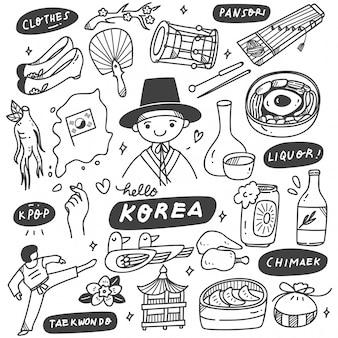 Insieme disegnato a mano di doodle della corea