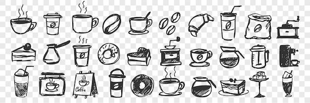 Insieme disegnato a mano di doodle di tazze e pasticceria