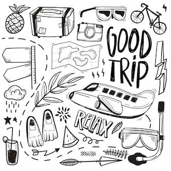 Insieme disegnato a mano di doodles itineranti