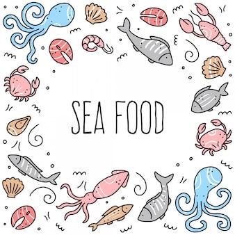 Insieme disegnato a mano di elementi di frutti di mare. illustrazione stile doodle.