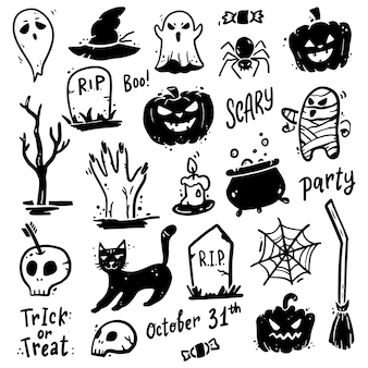 Insieme disegnato a mano di elementi di halloween. illustrazione di stile di doodle.