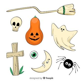 Insieme disegnato a mano di halloween degli elementi svegli su fondo bianco