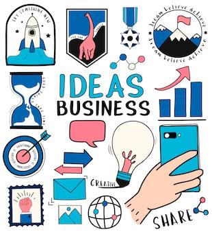 Insieme disegnato a mano di idee e illustrazione di simboli di affari