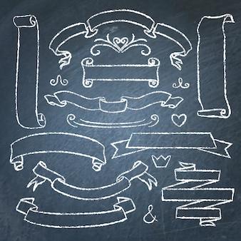 Insieme disegnato a mano di nastri di lavagna