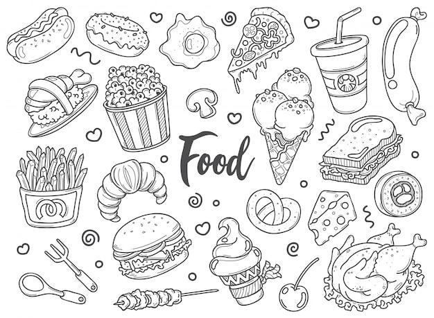 Insieme disegnato a mano di scarabocchi alimentari nel vettore