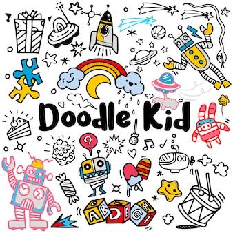 Insieme disegnato a mano di scarabocchio dei bambini, stile di scarabocchio, illustrazione di vettore