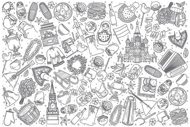 Insieme disegnato a mano di scarabocchio della russia