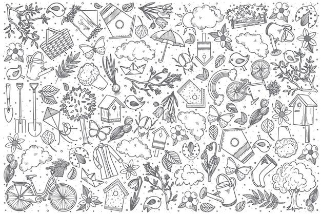 Insieme disegnato a mano di scarabocchio di vettore della primavera