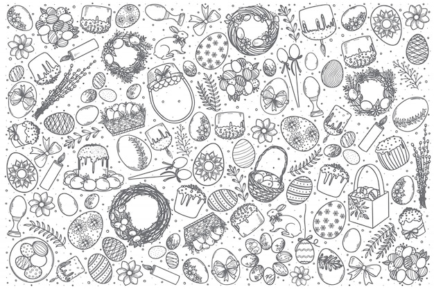Insieme disegnato a mano di scarabocchio di vettore di pasqua