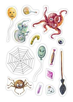 Insieme disegnato a mano di simpatici adesivi di halloween