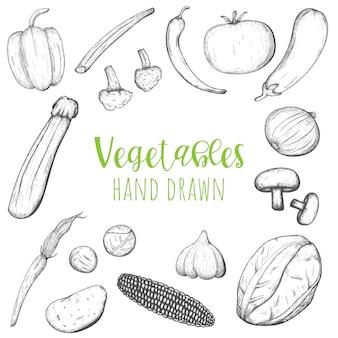 Insieme disegnato a mano di vettore delle verdure, verdure schizzate isolate.