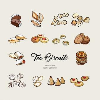 Insieme disegnato a mano di vettore isolato biscotti, linea vecchio stile. biscotti da tè vettoriale, biscotti per cucinare