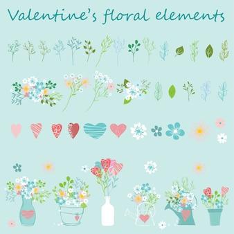 Insieme disegnato a mano floreale di san valentino. perfetto per san valentino, adesivi, compleanno, salva l'invito della data.