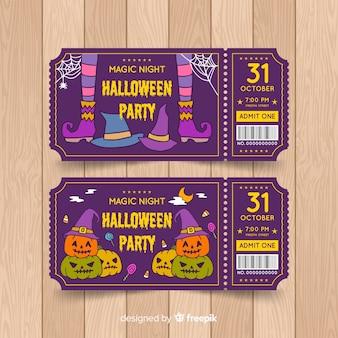 Insieme disegnato a mano variopinto dei biglietti del partito di halloween