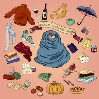 Insieme disegnato a mano variopinto del fumetto di scarabocchio degli oggetti e dei simboli di autunno. umore di ottobre