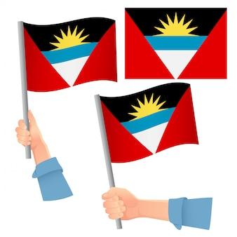 Insieme disponibile della bandiera dell'antigua e barbuda