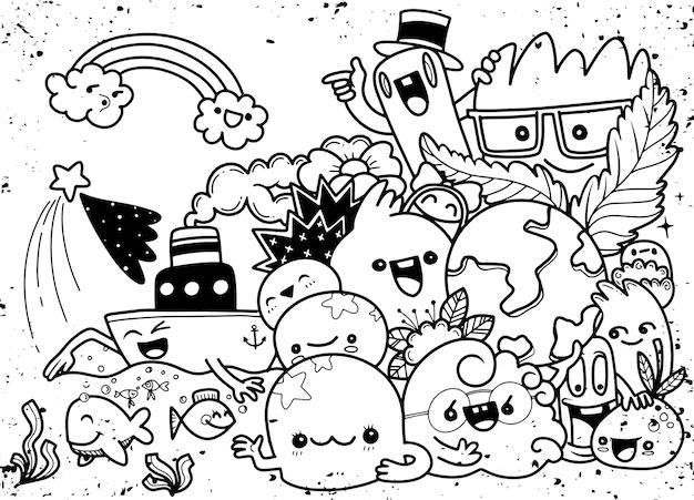 Insieme divertente del fumetto di scarabocchio di attività di creatività. illustrazione disegnata a mano.