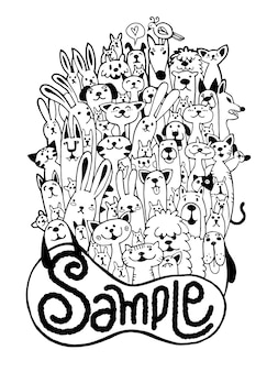 Insieme divertente dell'animale domestico di scarabocchio disegnato a mano, illustrazione di vettore.