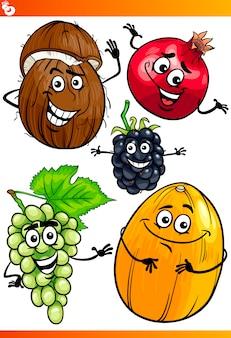 Insieme divertente dell'illustrazione del fumetto di frutti
