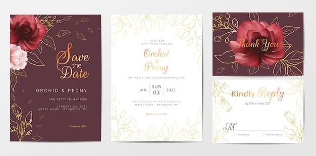 Insieme dorato del modello delle carte dell'invito di nozze dei fiori dorati eleganti