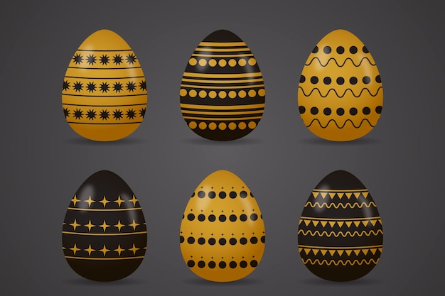 Insieme dorato dell'uovo di giorno di pasqua