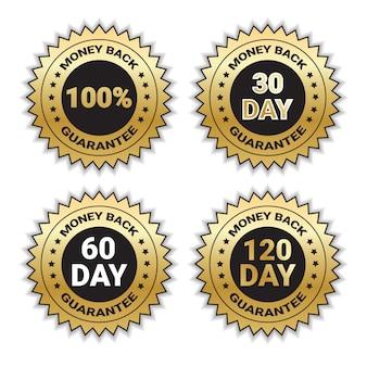 Insieme dorato di garanzia soddisfatti o rimborsati di distintivo del distintivo isolato