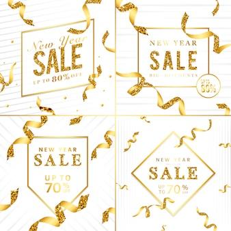 Insieme dorato di vettore del segno di vendita