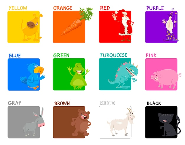 Insieme educativo di colori di base