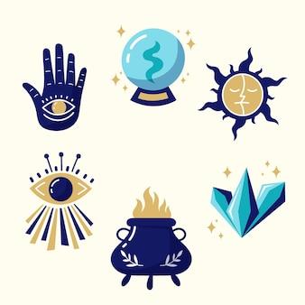 Insieme esoterico dell'illustrazione di concetto degli elementi
