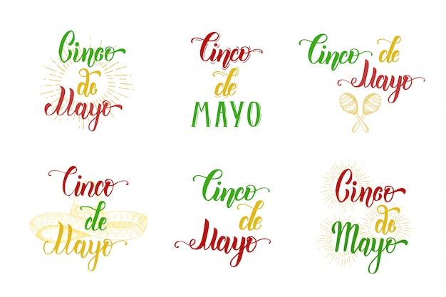 Insieme fatto a mano dell'iscrizione di cinco de mayo con il simbolo messicano dell'illustrazione d'annata di vettore nello stile di schizzo isolato su bianco. frase scritta calligrafia.