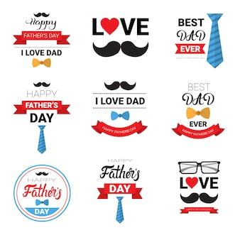 Insieme felice del manifesto della cartolina d'auguri di festa della famiglia di giorno di padre