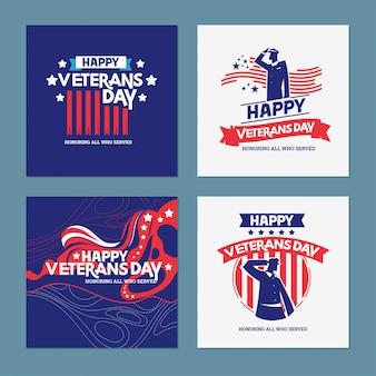 Insieme felice dell'illustrazione di giorno dei veterani