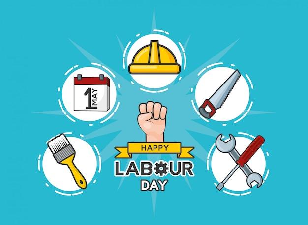 Insieme felice di festa del lavoro dell'illustrazione degli oggetti di lavoro di festa del lavoro