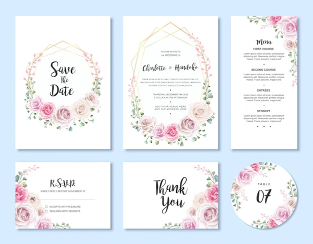 Insieme floreale del modello della carta dell'invito di nozze floreale dell'acquerello