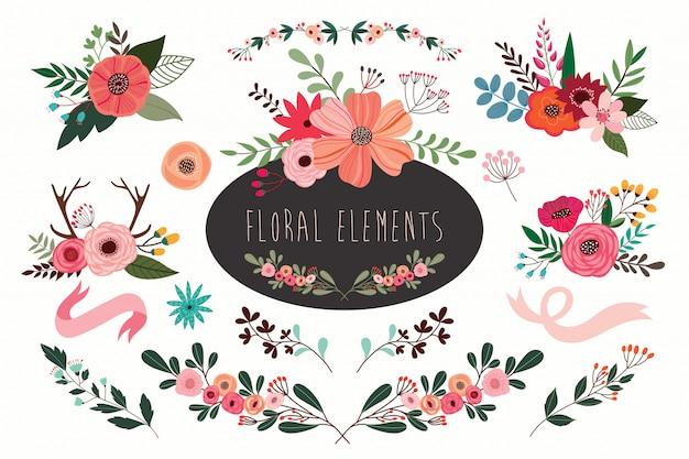 Insieme floreale di vettore disegnato a mano con i mazzi dei fiori e delle filiali.