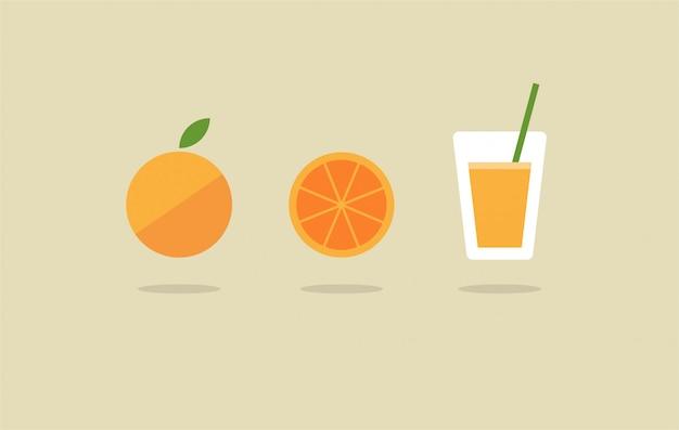 Insieme fresco dell'icona del succo d'arancia fresco di vettore