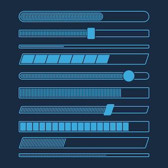 Insieme futuristico della barra di caricamento di progresso di download isolato