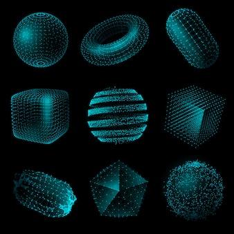 Insieme geometrico dell'icona di stile di tecnologia 3d di forma