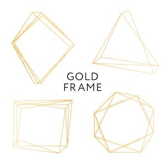 Insieme geometrico dell'insegna di progettazione di vettore di minimalismo di forma della struttura dell'oro