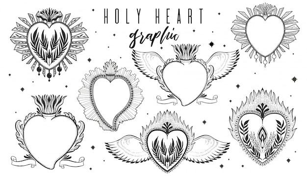 Insieme grafico dell'illustrazione di schizzo cuore santo con i simboli disegnati a mano mistici ed occulti.