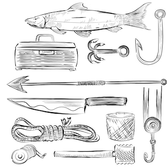 Insieme illustrato di attrezzature per la pesca