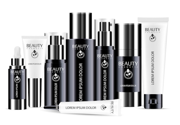 Insieme in bianco del modello in bianco e nero della bottiglia cosmetica