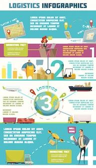 Insieme infographic di logistica con l'illustrazione di vettore del fumetto di simboli del magazzino e del carico