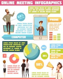 Insieme infographic di riunione online con l'illustrazione di vettore del fumetto di simboli di affari