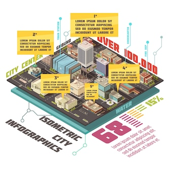 Insieme infographic isometrico di edifici governativi