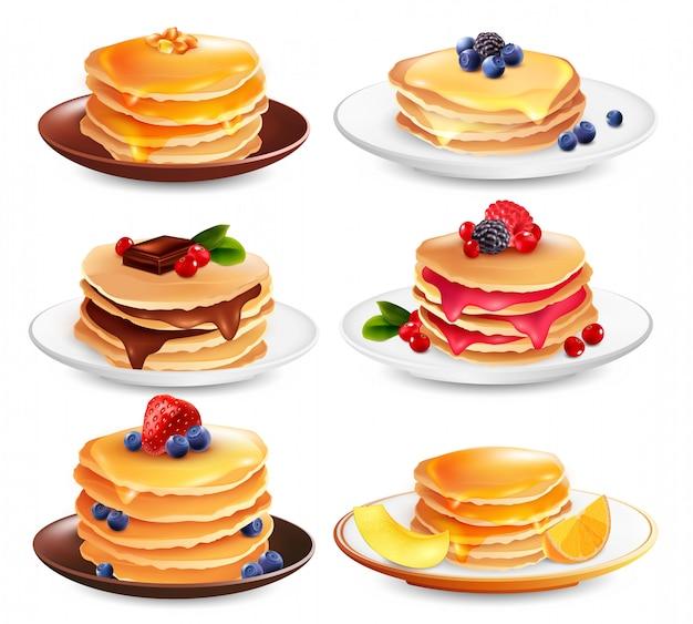 Insieme isolato dei pancake dell'acero