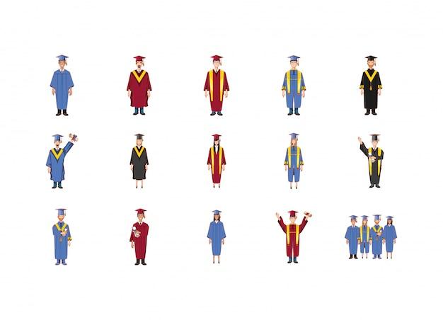 Insieme isolato dell'icona della gente di graduazione