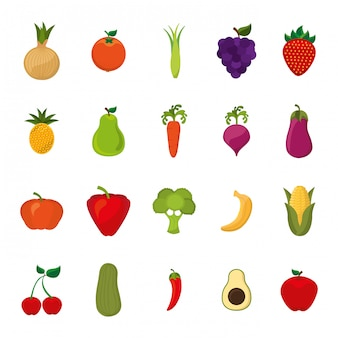 Insieme isolato dell'icona delle frutta e delle verdure